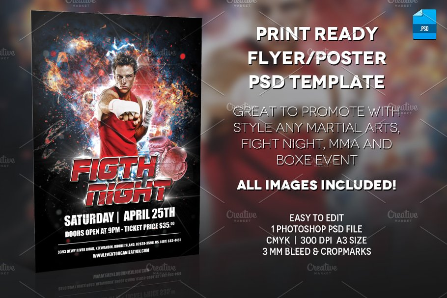 MMA Boxer Poster Print Template ~ Flyer Templates ~ Creative Market