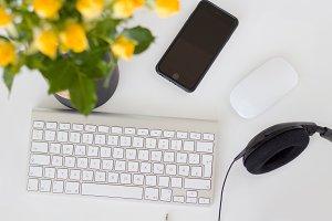 White feminine desk workspace
