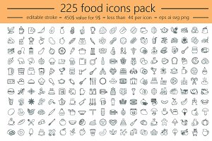 225 Food icons. Editable stroke!