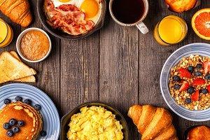 breakfast on a rustic table