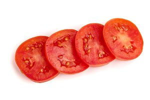 tomato slice isolated on white background. Top view