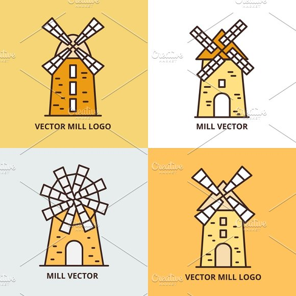 Retro Windmill Logo Set