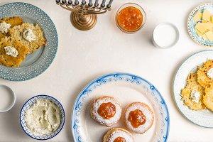 Hanukkah, Jewish holiday, festive feast frame free space