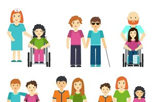 Disabled people with helping