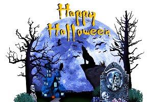 Halloween Howling Wolf T- Shirt Art