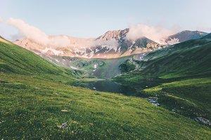 Sunset Landscape Rocky Mountains