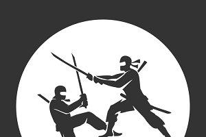 Japanese ninja vector poster