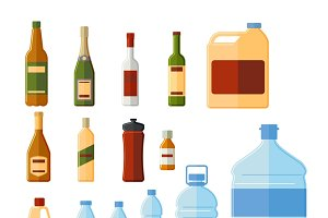 Different bottles and containers