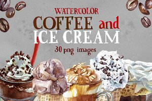 Watercolor Coffee And Ice Cream