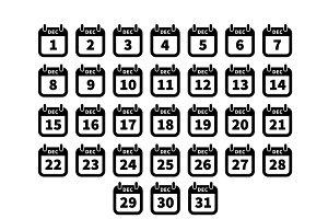 Simple black calendar icons