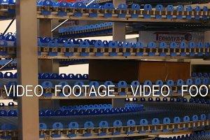 Conveyor line in motion , blue