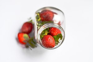 strawberries in a jar
