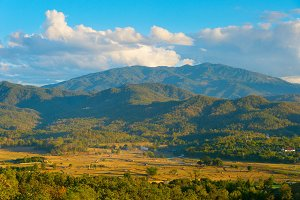 Landscape with mountains . Thailand