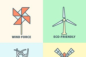 Windmill linear logo set