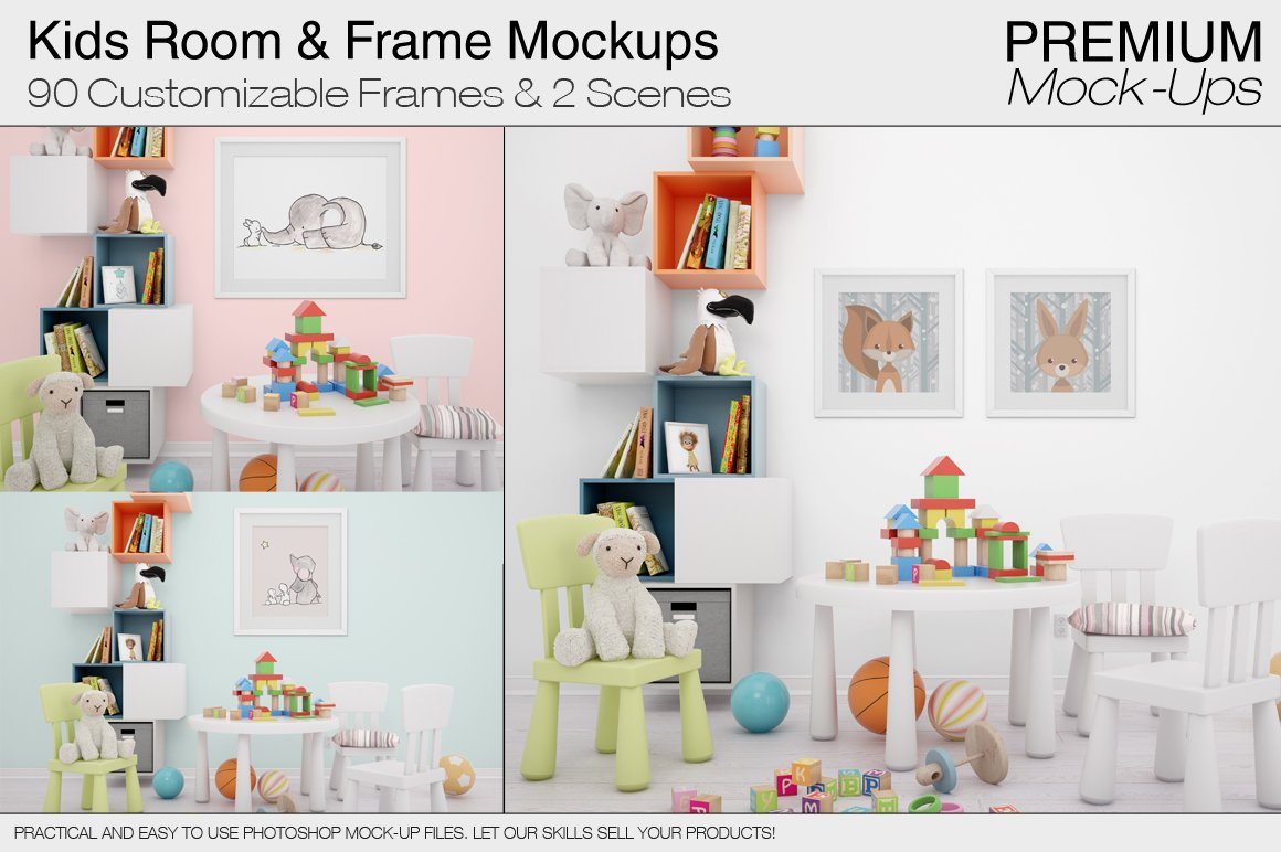 Kids room frame mockups product mockups creative market jeuxipadfo Choice Image