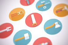 Flat construction and tools icon set