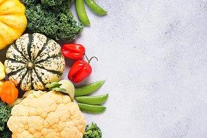 Top view rainbow vegetables, autumn
