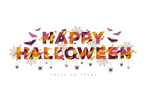 Halloween typography design with spider web