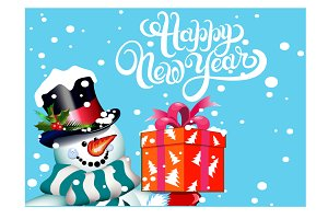 Happy New Year Christmas Snowman