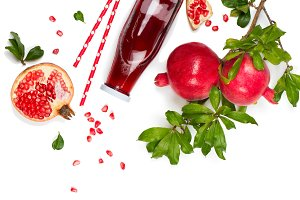 Juice and fruit of pomegranate