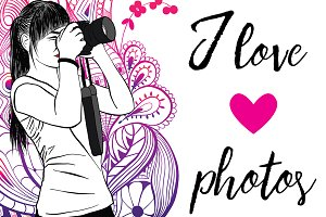 Vector image girl with a camera