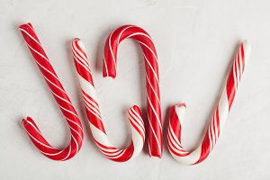 Christmas decors with gray background. Candy cane