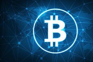 Bitcoin symbol on futuristic hud banner.