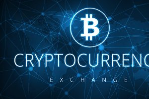 Cryptocurrency exchange futuristic hud banner.