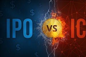 ICO vs IPO technology futuristic banner.