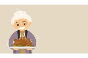 Grandmother with turkey Holiday card, banner.