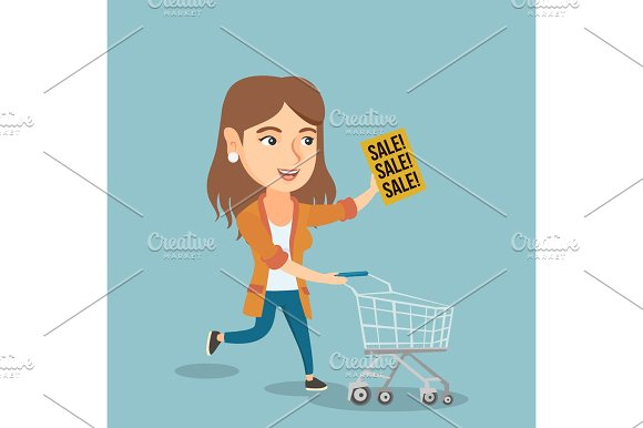 Woman Running In A Hurry To The Store On Sale