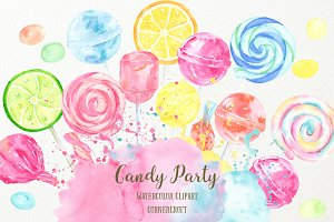 Watercolor Candy Party Clip Art