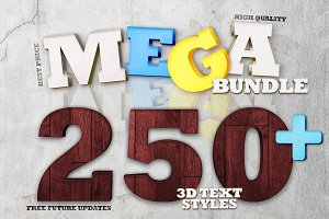 Mega Bundle 250+ 3D Text Styles