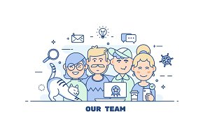 Business people teamwork.Flat line design style modern vector illustration concep.