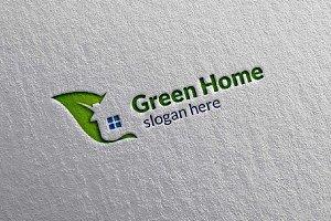 Green Home,Leaf Real estate Logo