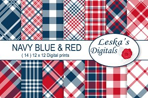 Red White and Blue Plaid Patterns