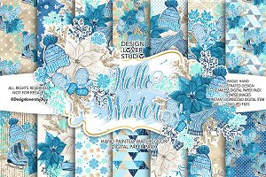 Hello Winter digital paper pack
