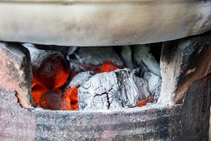 Charcoal stove heat on fire