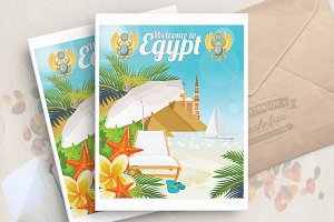 Egypt travel vector. Egiptian set
