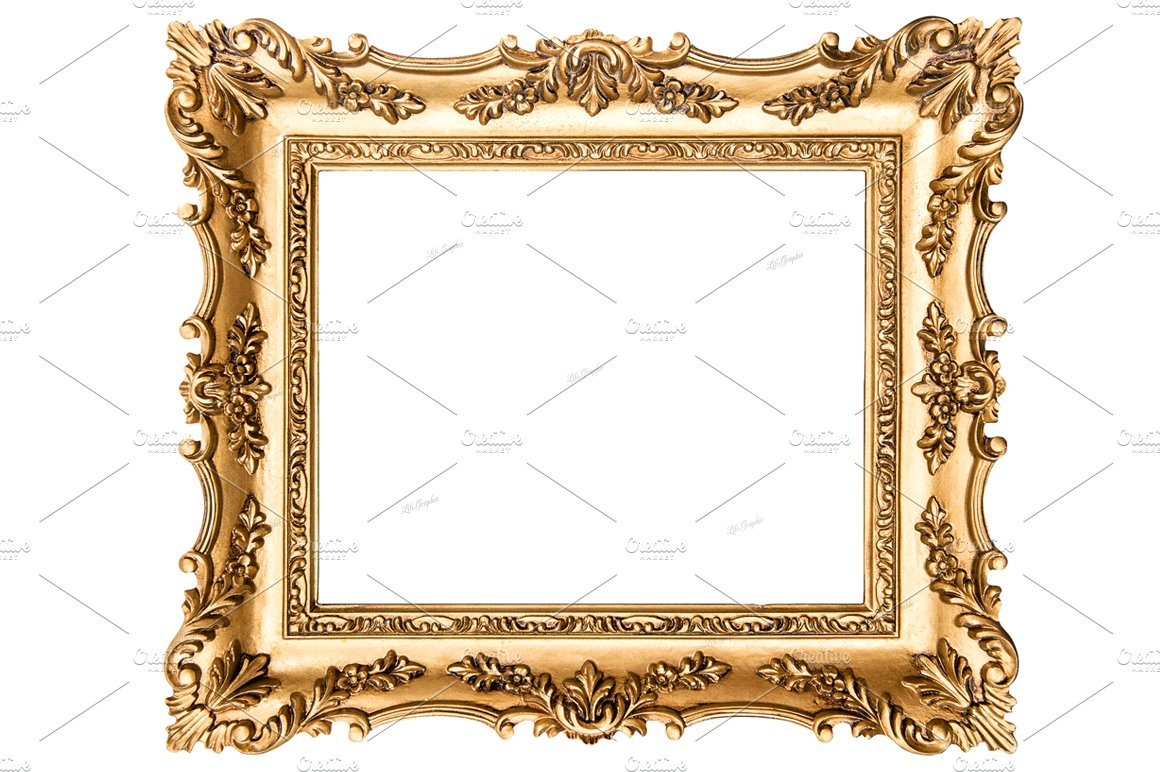 Vintage golden picture frame graphic objects creative for How to make vintage frames