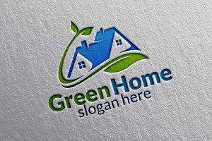 Green Home, Leaf Real estate Logo
