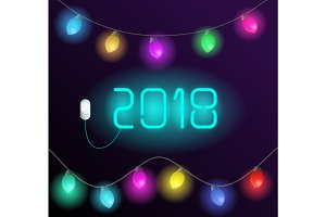 "Neon message ""2018"" and garland"