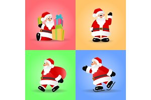 Christmas set of Santa Claus vector illustrations.