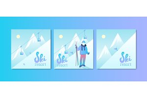 Ski Resort Poster Set.