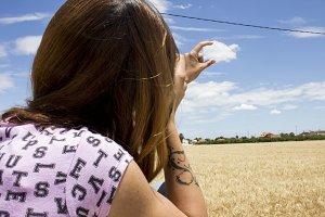 Girl catching a cloud