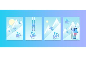 Set of Ski Resort Posters.