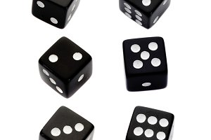 Six black dices with all the numbers