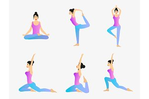 Yoga Exercise Vector Set