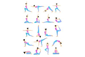 Yoga Position Vector Set.