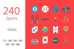 240 Sports and Fitness Flat icons